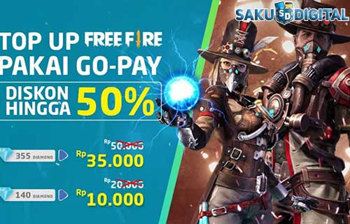 Cara Beli Free Fire GOPAY Diskon Cashback 50%