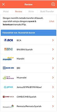 tap Bank untuk pengirim