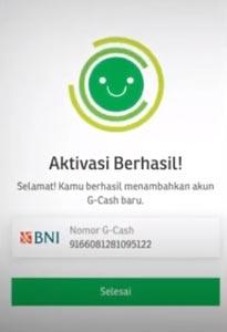 8. Aktivasi G Cash Berhasil
