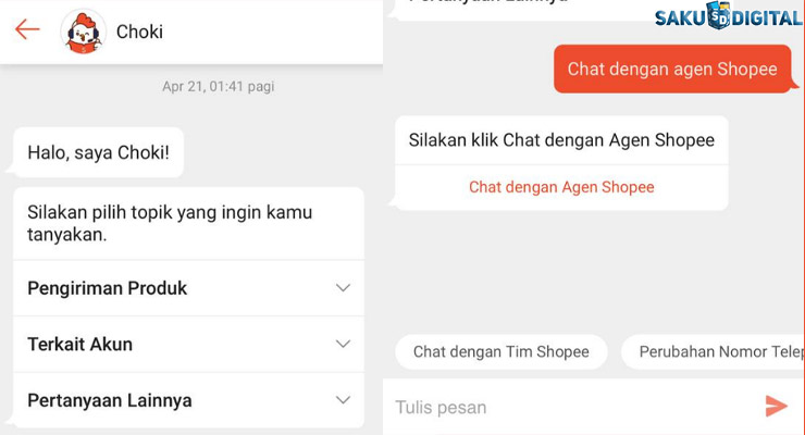 1 Lewat Chat dengan Shopee