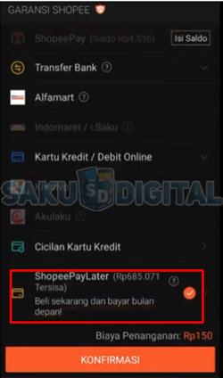 5 Pilih Metode Pembayaran Shopee Paylater