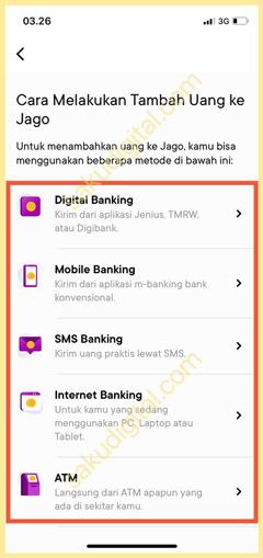 Pilih Metode Tambah Uang
