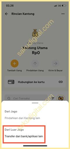 Pilih Transfer dari Bank atau Aplikasi Lain
