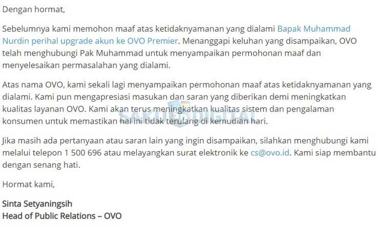 Tanggapan Pihak OVO Terkait Keluhan Pengguna OVO