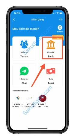 3 Pilih Kirim Ke Rekening Bank