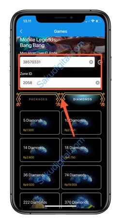 5 Masukan ID Game dan Server Mobile Legends