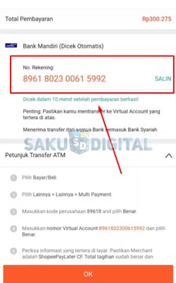 8 Salin Nomor Virtual Account