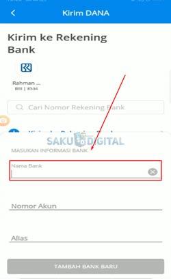 3 Masukkan Nama Bank