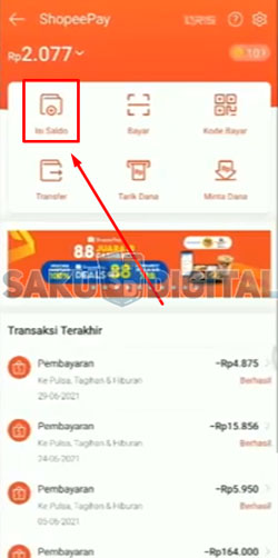 3. Cara Top Up ShopeePay Lewat Octo Mobile